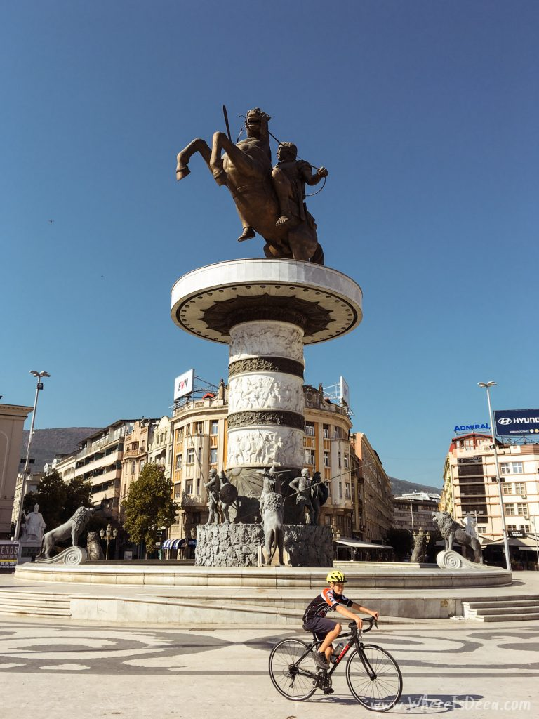 Macedonia Square in Skopje with the giant statue of a warrior on a horse.